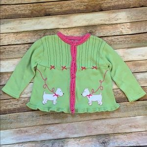 Hartstrings Green Cardigan Sweater with Dogs